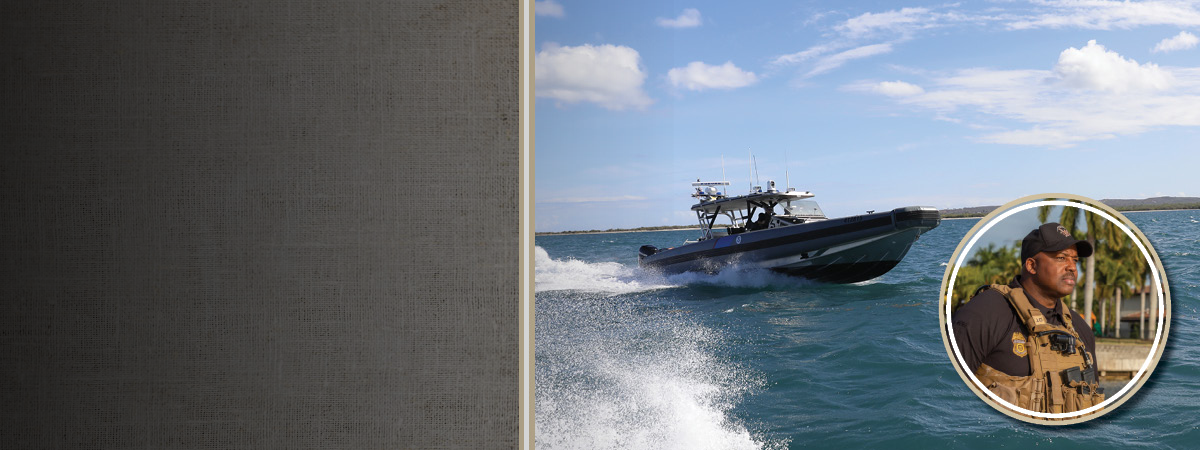 AMO marine boat in the water with photo of Arrington in the forefront