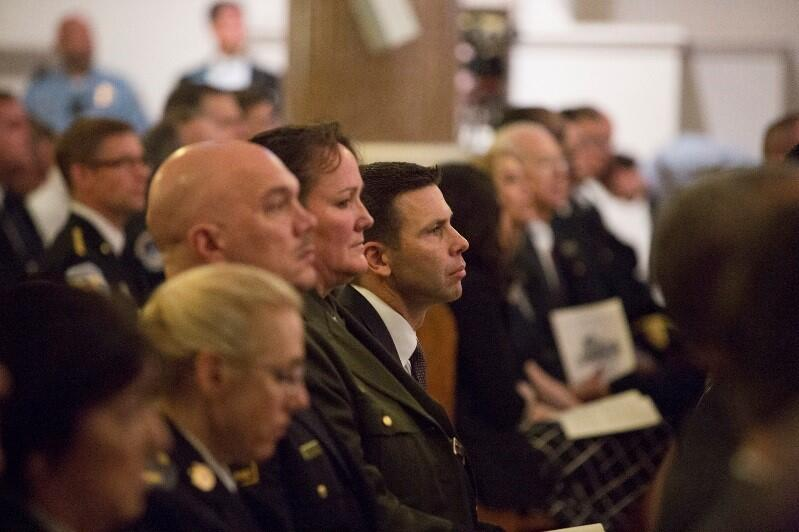 CBP Acting Commissioner Kevin McAleenan (background) was among the attendees at the Blue Mass.