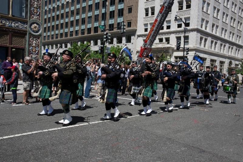 The combined pipes and drums unit directed by CBP led the Blue Mass marchers.