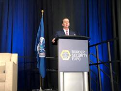 CBP's Chief Operating Officer John Sanders talks to attendees of the Border Security Expo