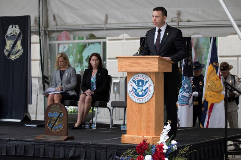 CBP Commissioner Kevin McAleenan (right) speaks as Homeland Security Secretary Kirstjen Nielsen (left) and Claire Grady (middle), Acting Deputy Secretary for Homeland Security, listen during the annual Valor Memorial and Wreath Laying Ceremony Wednesday in Washington, D.C.