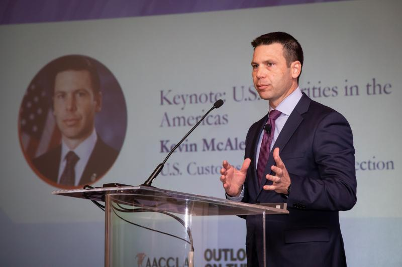 U.S. Customs and Border Protection Commissioner Kevin McAleenan delivers keynote remarks at the Association of American Chambers of Commerce in Latin America and the Caribbean Outlook on the Americas event in Miami Tuesday. Photo by Ozzy Trevino