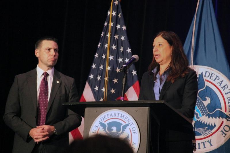 Acting Commissioner Kevin McAleenan, left, listens as Homeland Security Deputy Secretary Elaine Duke, gives her last public address as the Department's acting secretary at the East Coast Trade Symposium in Atlanta on Dec. 5.