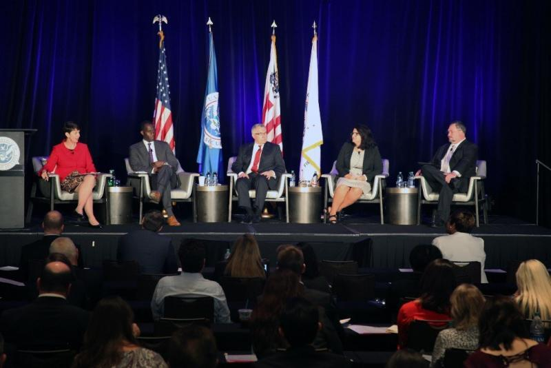 Panelists at CBP's East Coast Trade Symposium explore the concept of intelligent enforcement. From left, Brenda Smith, Nick Annan, Michael Coursey, Lisa Gelsomino, and Troy Riley.