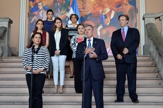 : Commissioner Kerlikowske and First Lady Garcia de Hernandez deliver remarks in Tegucigalpa, Honduras on Aug. 25, 2016. Also pictured: Chargé d' Affaires Stewart Tuttle (far right) and members of the Government of Honduras' Migration Task Force. (Photo Credit: CBP)
