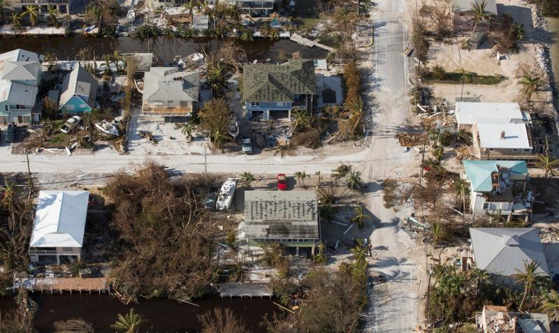 Almost complete devastation is evident in this Florida Keys neighborhood during this AMO assessment. Photo by Glenn Fawcett