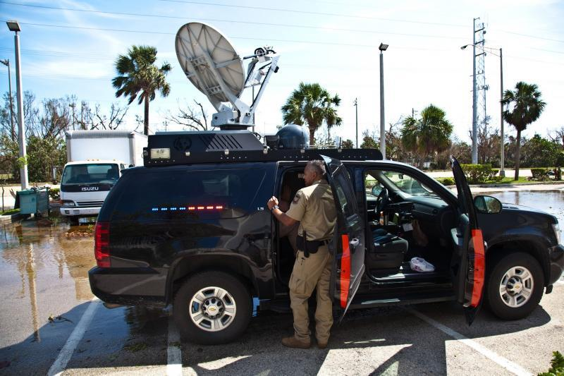 A CBP mobile command vehicle at Key Marathon, Florida, sets up communications with the lead field coordinator in Region IV.