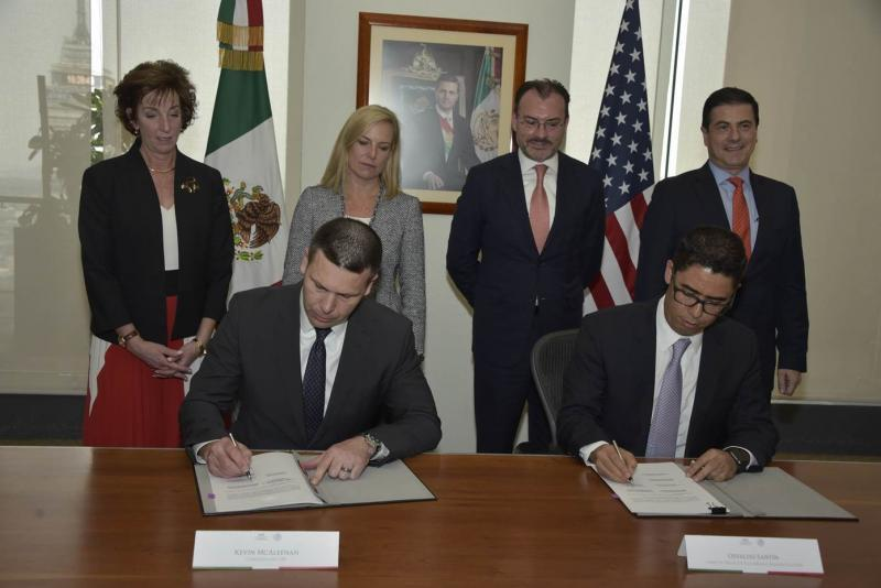 U.S. Customs and Border Protection Commissioner Kevin McAleenan and Chief of Mexico Tax Administration Service Osvaldo Santin signed agreements to ensure better cooperation on trade issues in Mexico City, March 26. DHS photo by Jetta Disco