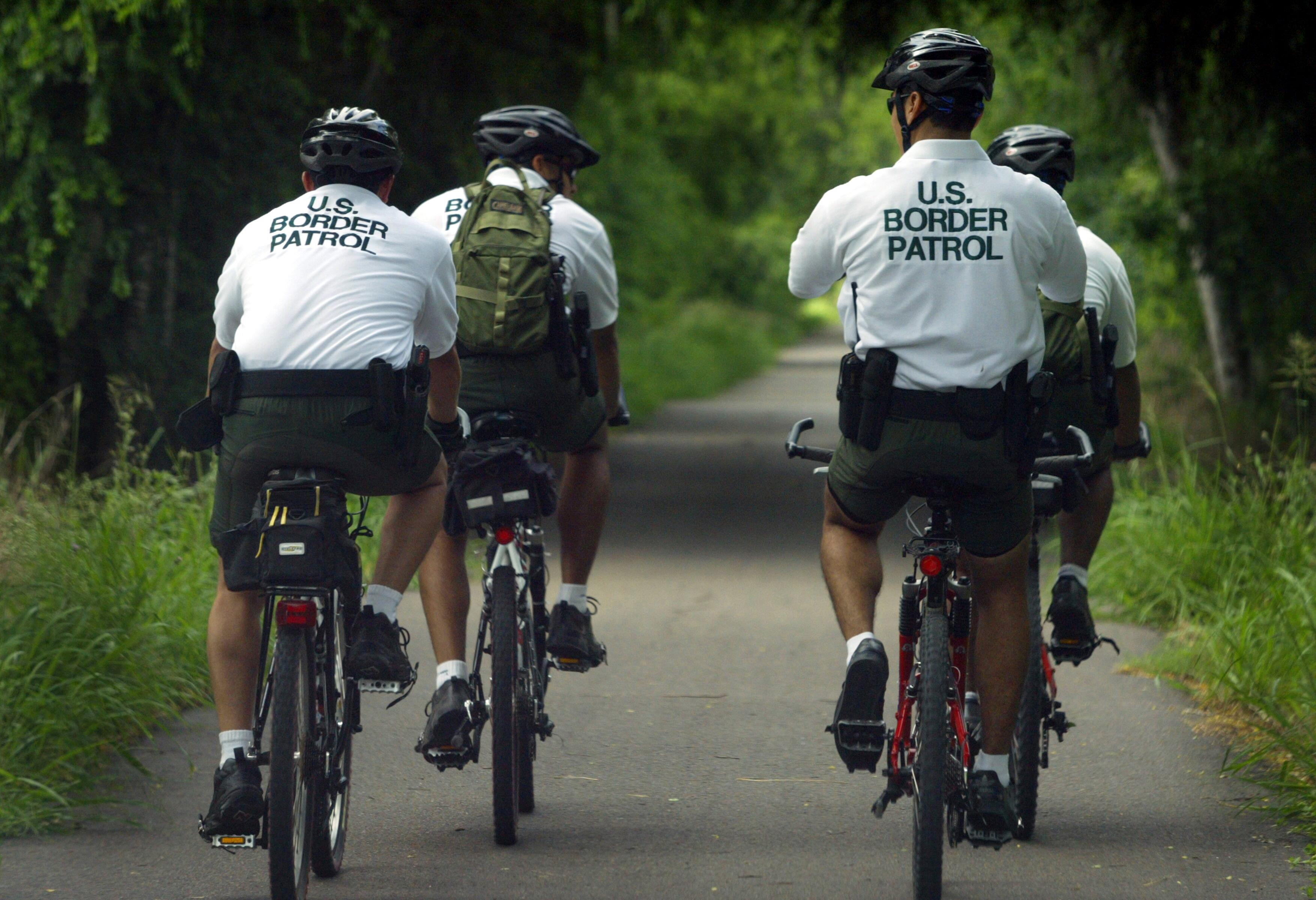 U.S. Border Patrol bicycle unit on patrol in McAllen, Texas.