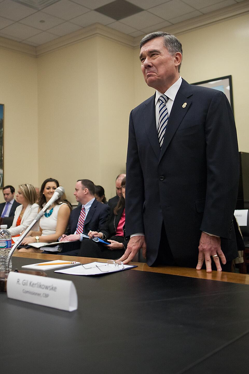 CBP Commissioner R. Gil Kerlikowske is introduced to members of the House Appropriations Subcommittee on Homeland Security. The commissioner spoke concerning CBP's budget priorities for fiscal year 2015.<em> (Photo by Josh Denmark)</em>
