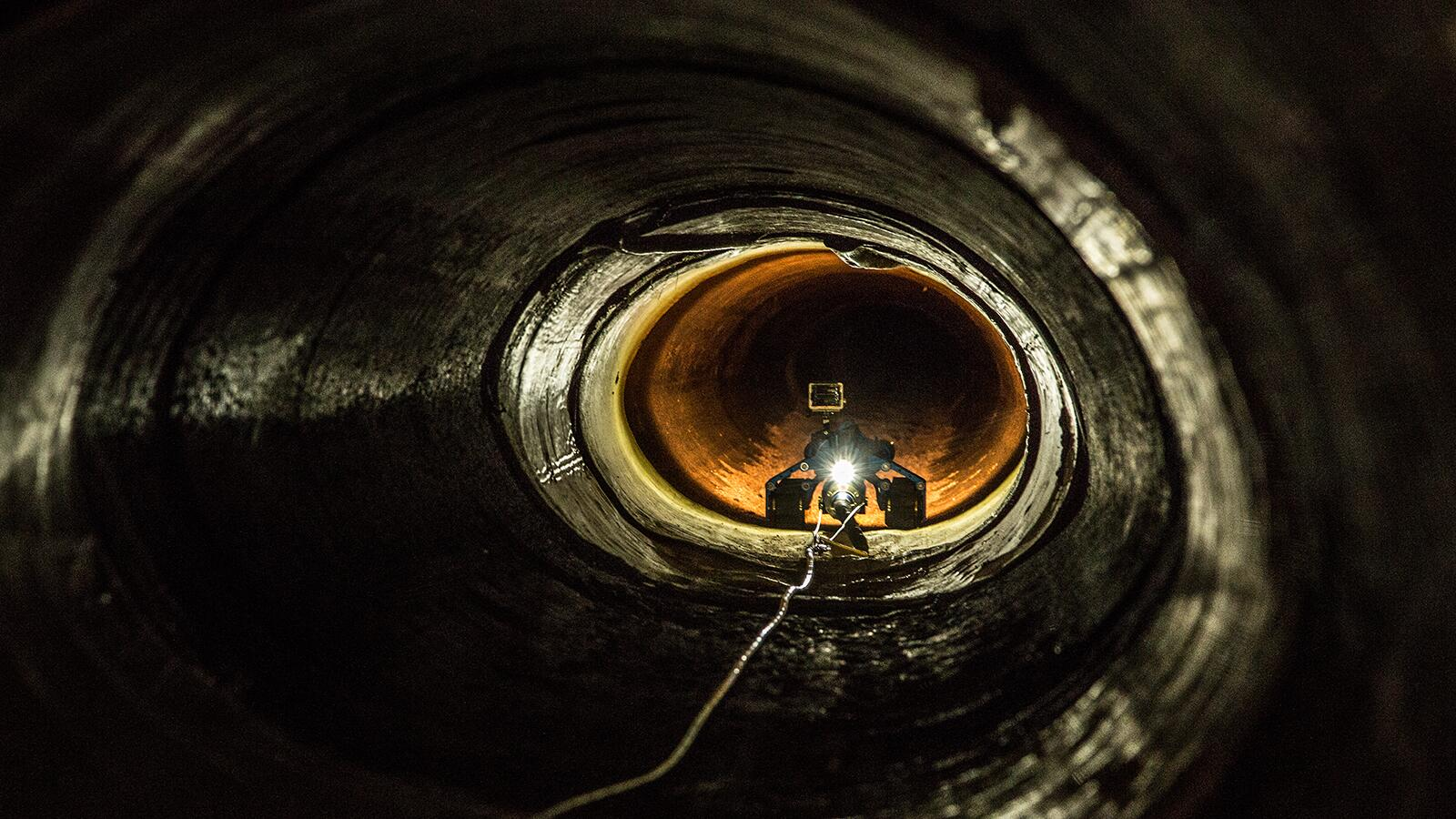 A CBP robot explores a drainage pipe in Nogales, Arizona.