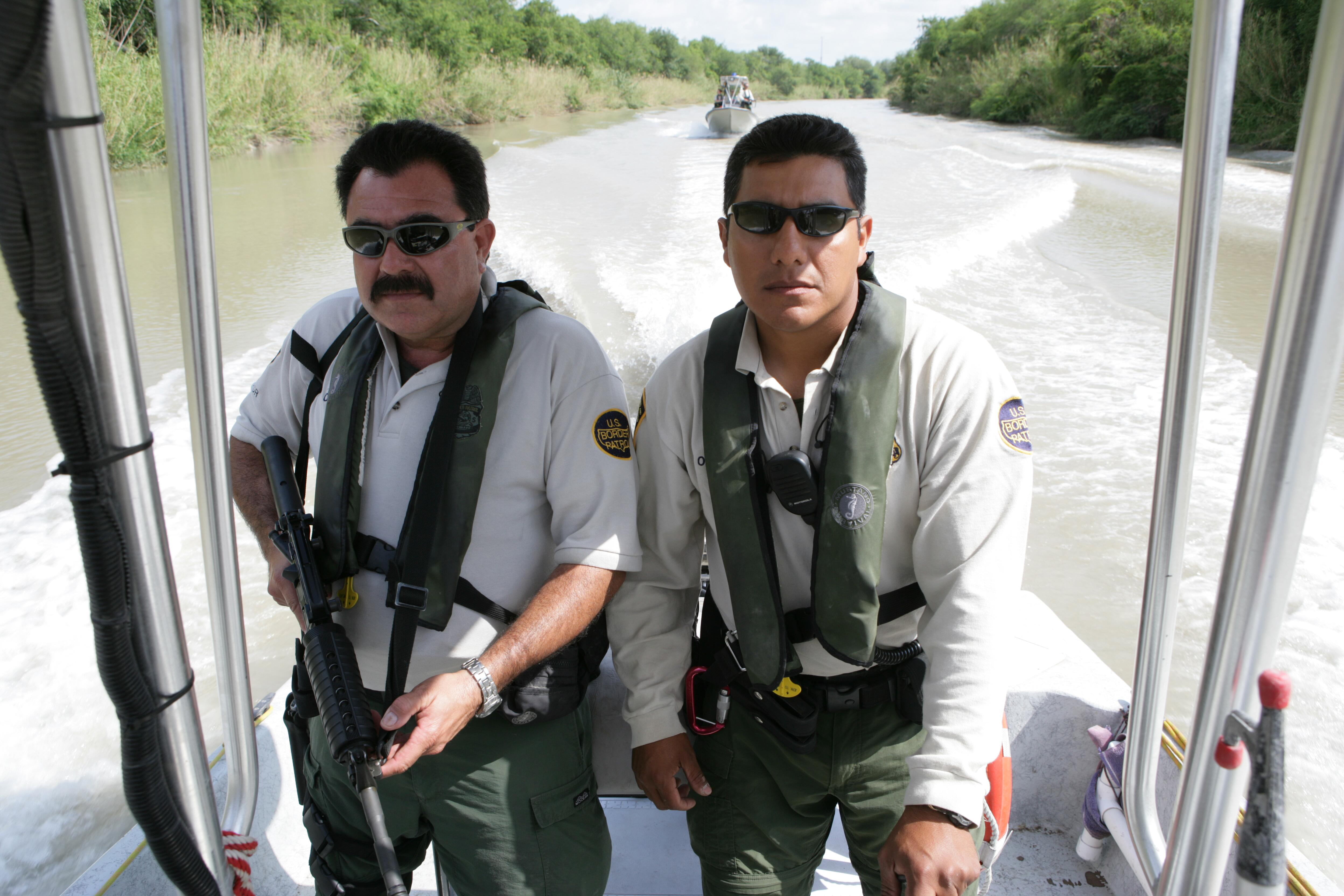 U.S. Border Patrol Marine Unit patrols the southern most portion of the Rio Grande river in Texas.