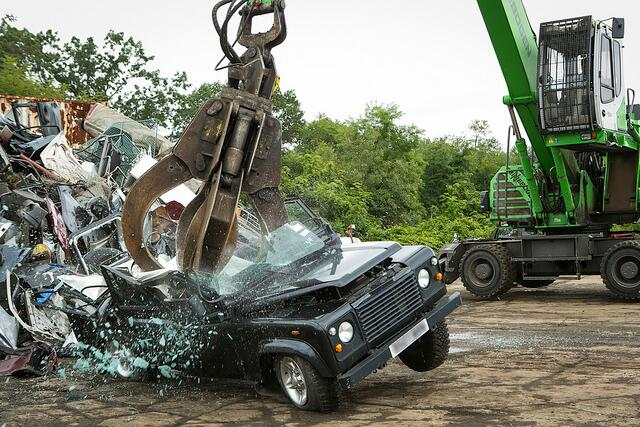 Land Rover Defender destroyed for Customs violations upon entering the United States from the United Kingdom. Photo by James Tourtellotte.