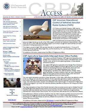 Image of CBP Access, a newsletter for Members of Congress and staff
