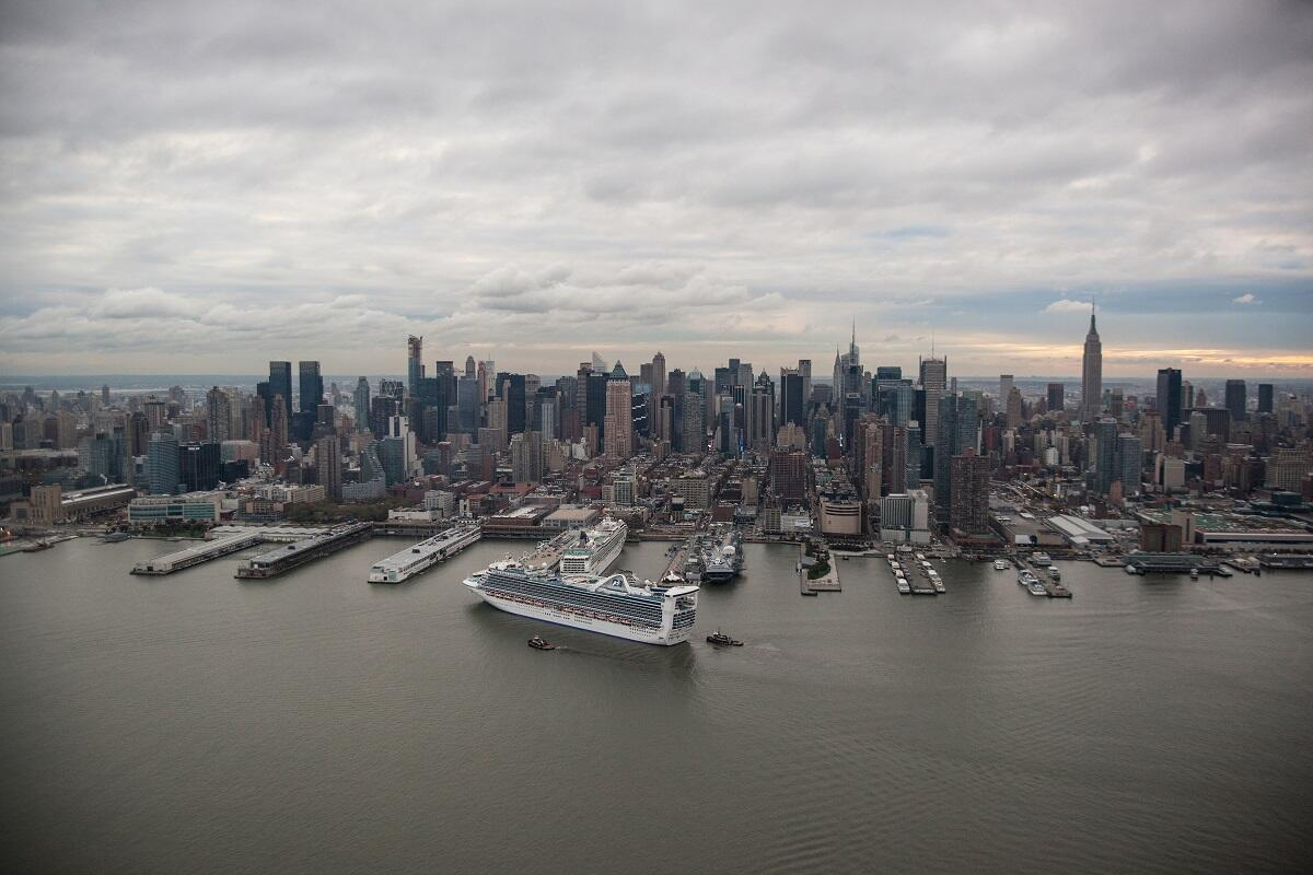 A cruise boat arrives from the Caribbean into New York City, where CBP officers will process passengers. <em>(photo by Josh Denmark)</em>