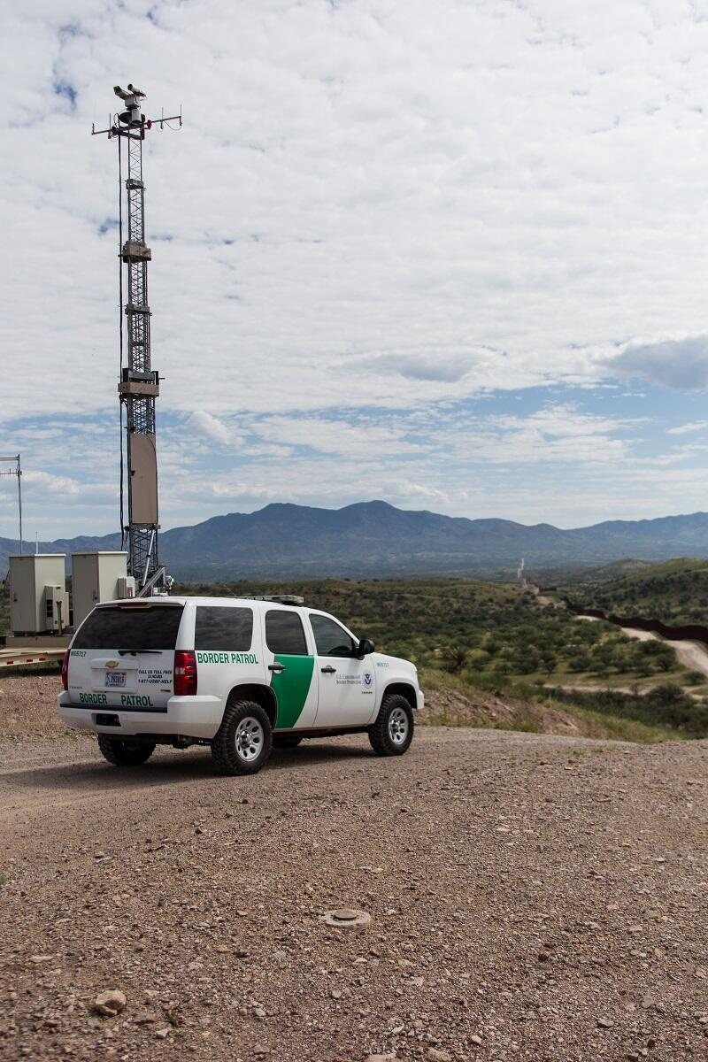 A mobile surveillance tower near Nogales, Ariz. helps patrol the U.S.-Mexico border area.<em> (photo by Josh Denmark)</em>