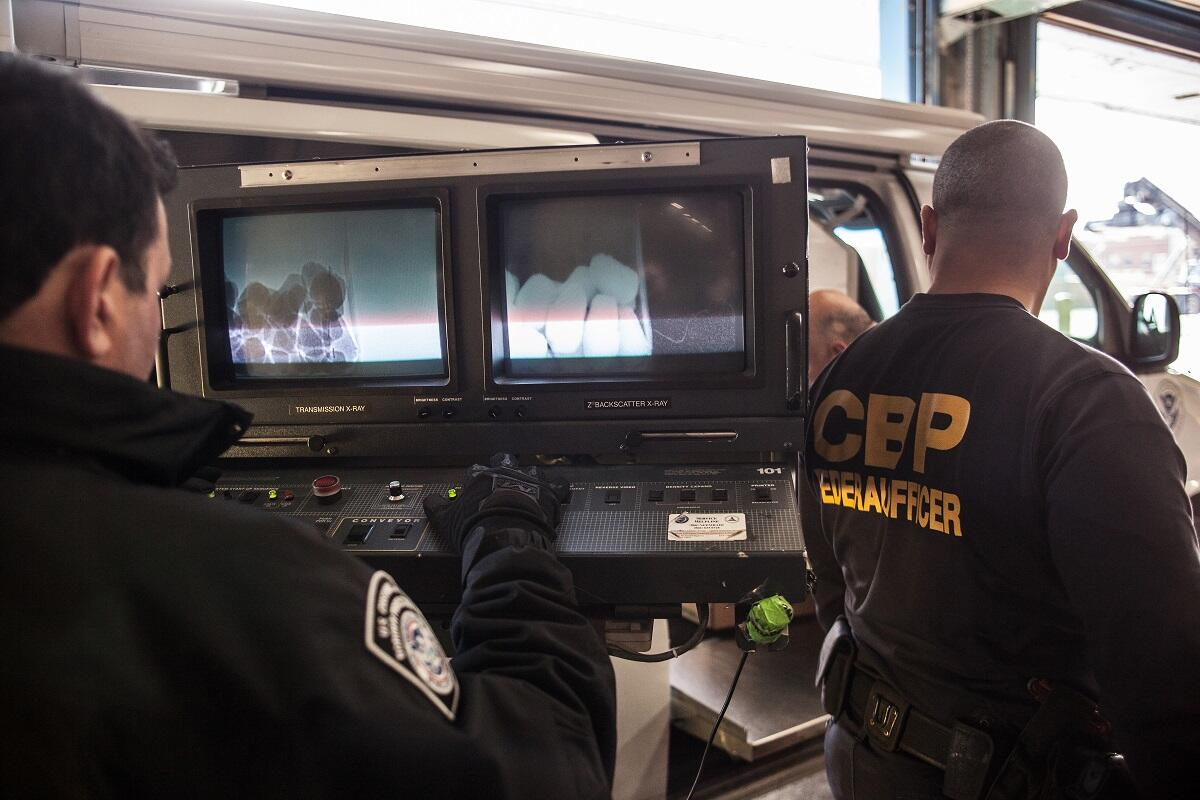 CBP officers use advanced X-ray technology to inspect incoming food at New York entry. <em>(photo by Josh Denmark)</em>