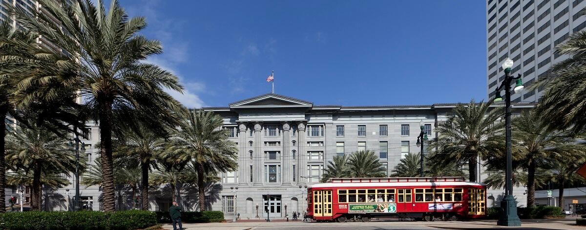 The exterior of the historic New Orleans Custom House at its reopening following repairs to damage caused by Hurricane Katrina.