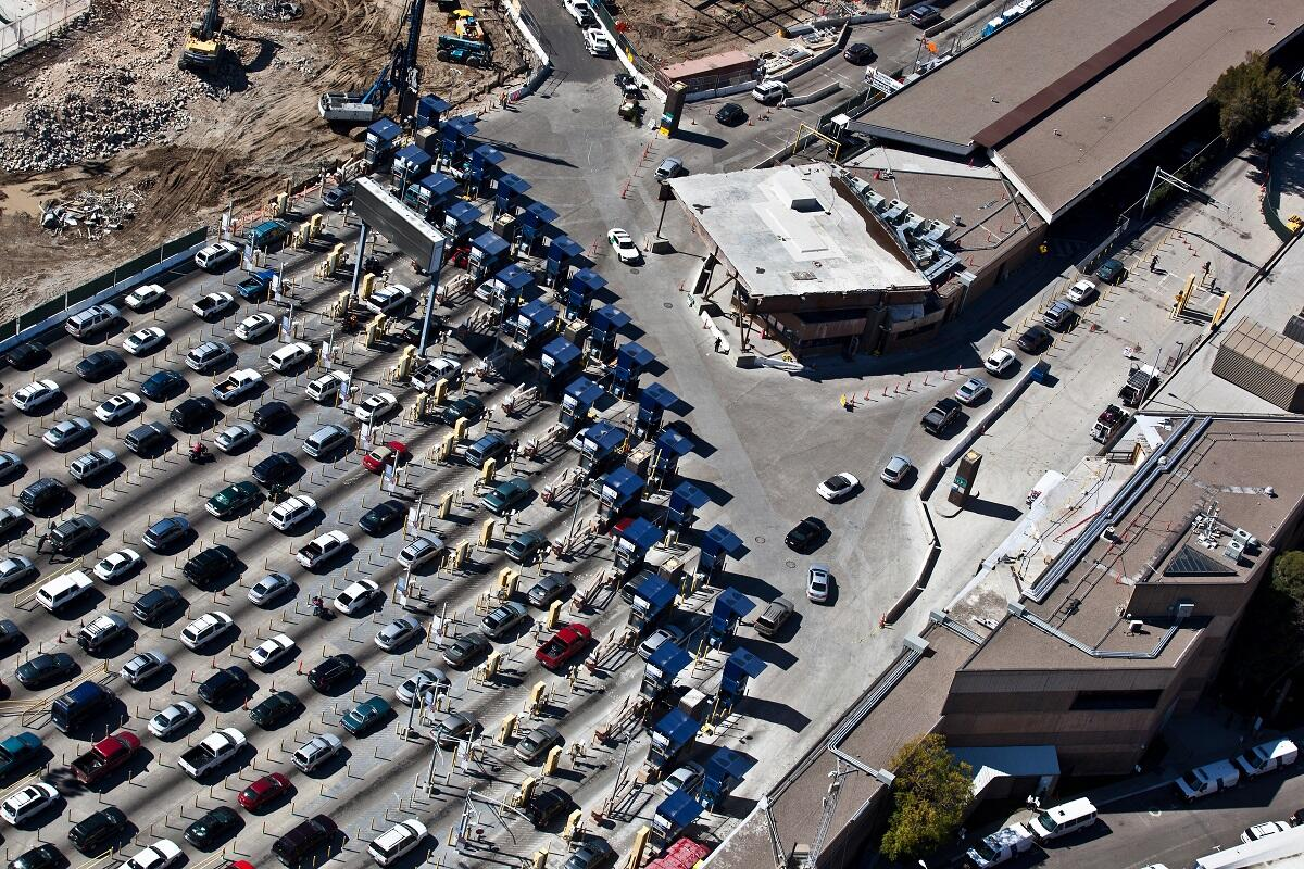 Cars line up at the CBP inspection station at San Ysidro, Calif., thought to be the busiest land port in the world.<em> (photo by Josh Denmark)</em>