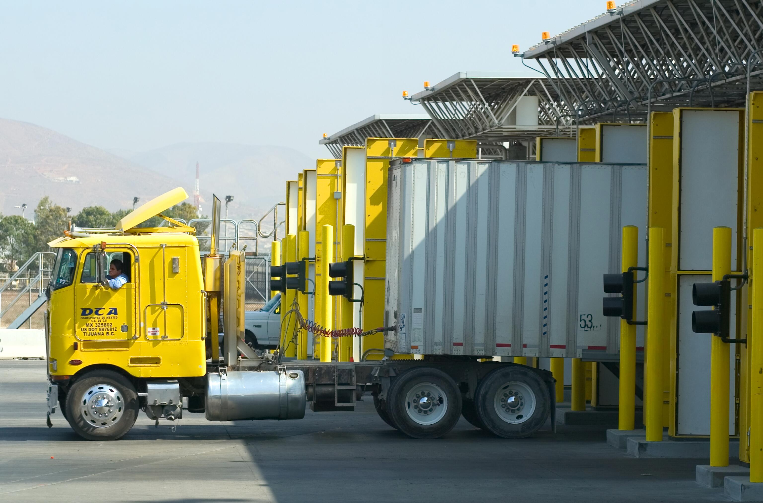 Trucks bring products into the U.S. through the Otay Mesa border crossing where CBP Agriculture Specialists inspect their cargo.