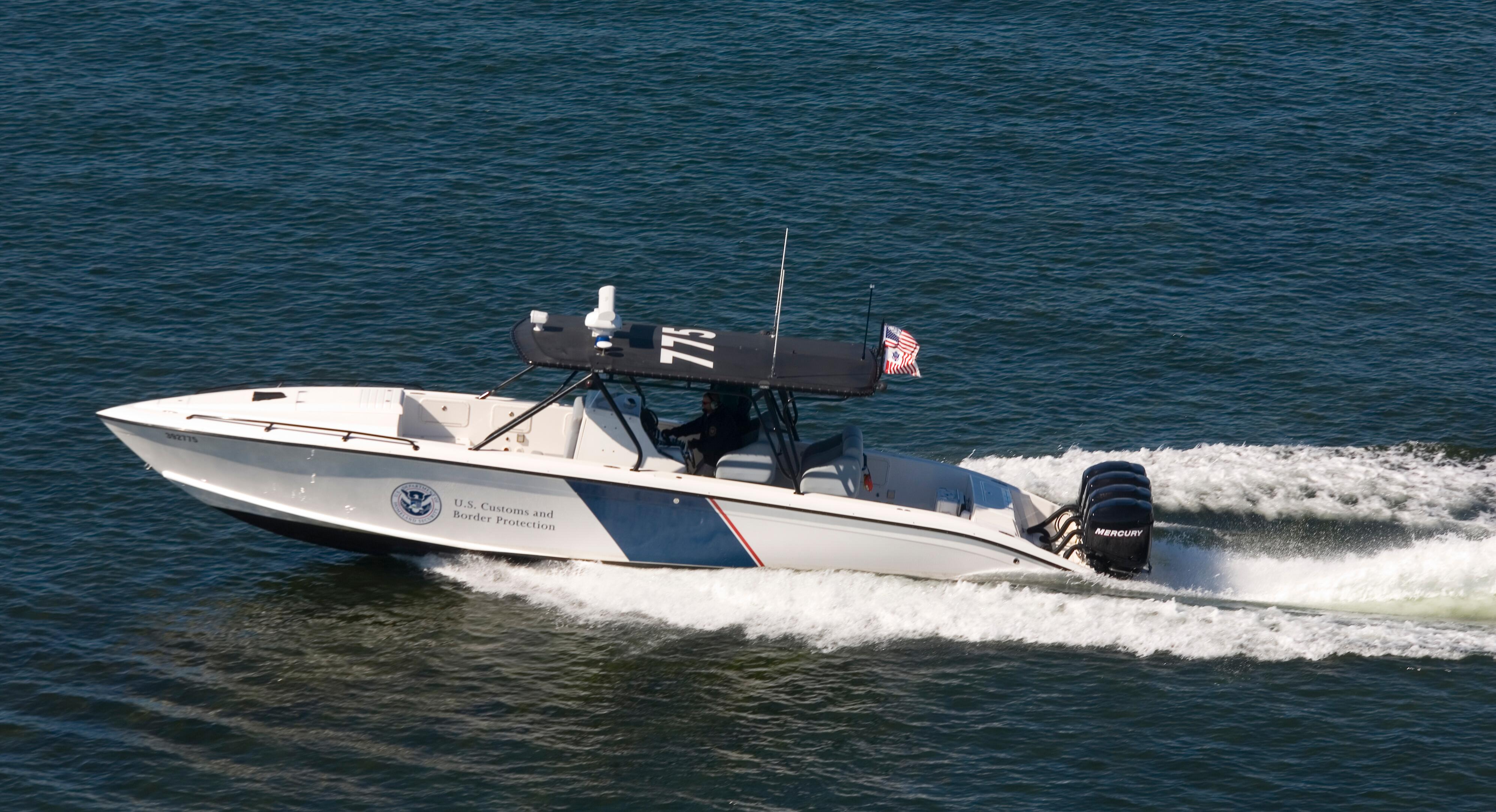 A CBP midnight express' in pursuit along the northern border region.