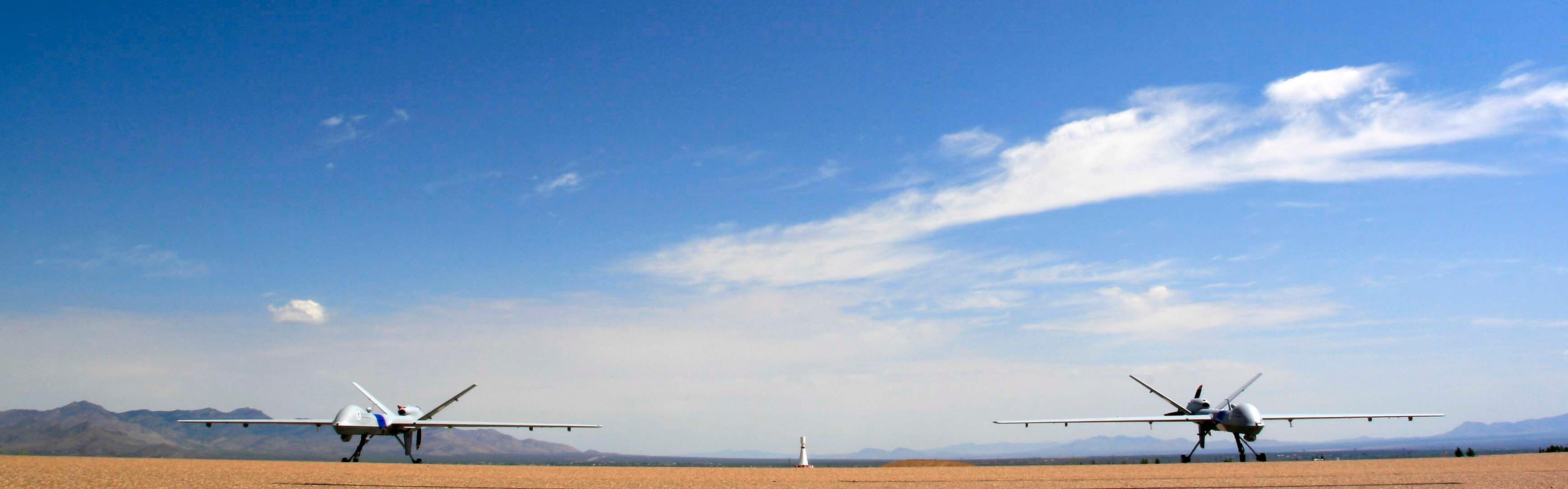 A pair of CBP's unmanned aircraft in Sierra Vista, Ariz.
