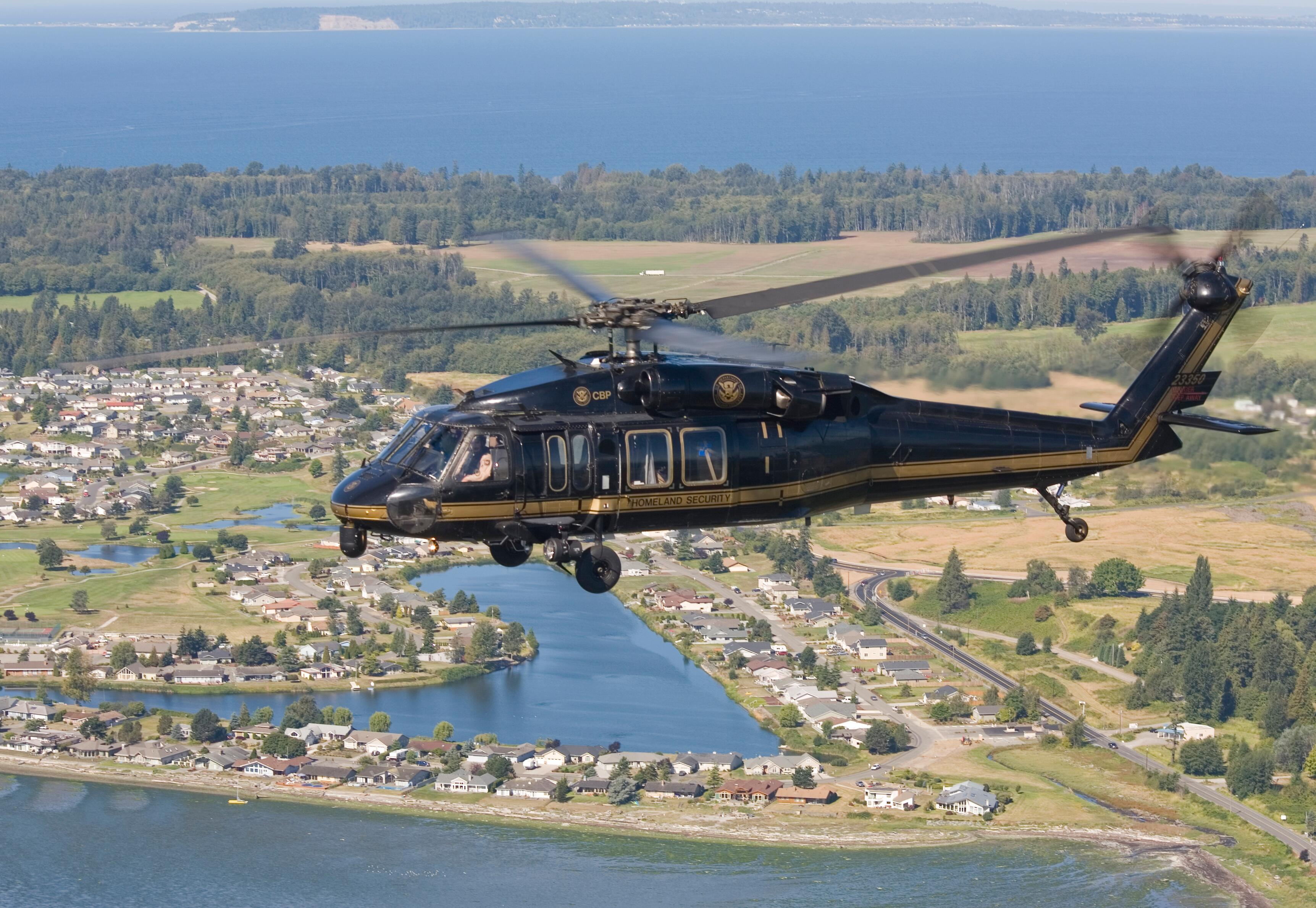 A Customs and Border Protection UH-60 Black Hawk patrols along the northwest border of the U.S.
