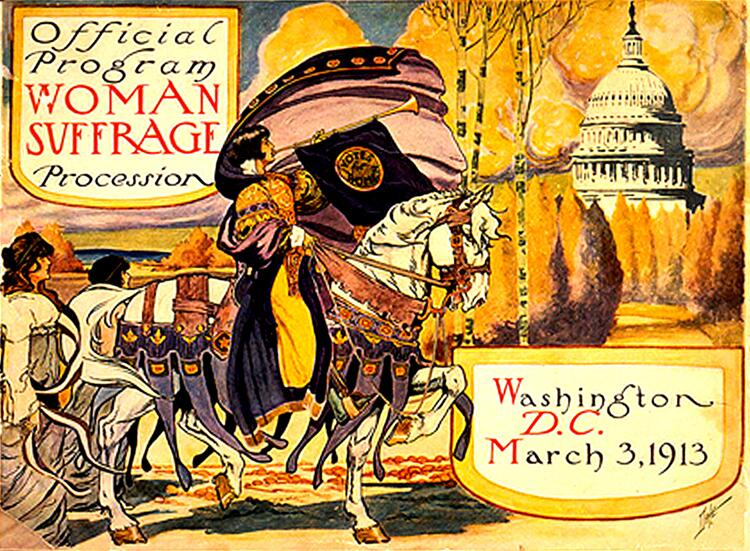 Campaigning for women's suffrage in 1913. Women would not win the right to vote until the passage of the 19th Amendment on Aug. 18, 1920