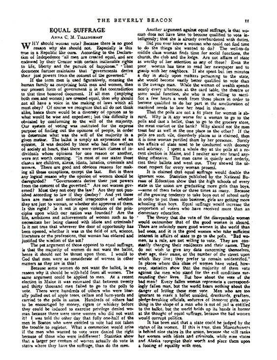 Tillinghast, Anna C. M. Equal Suffrage. Beverly, Mass.: The Beverly Beacon - A Women's Newspaper; November 1, 1913; p. 11.