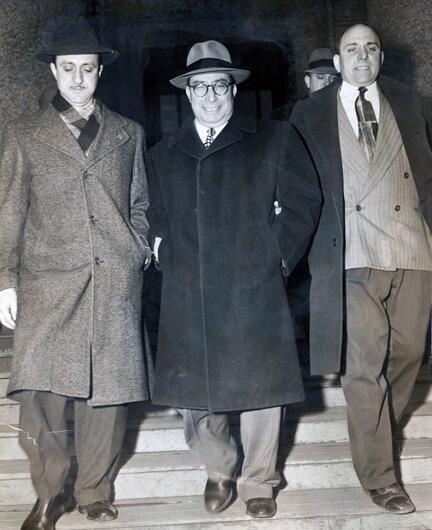 Salvatore Sollazzo leaving Federal Court, Mar 7, 1951.