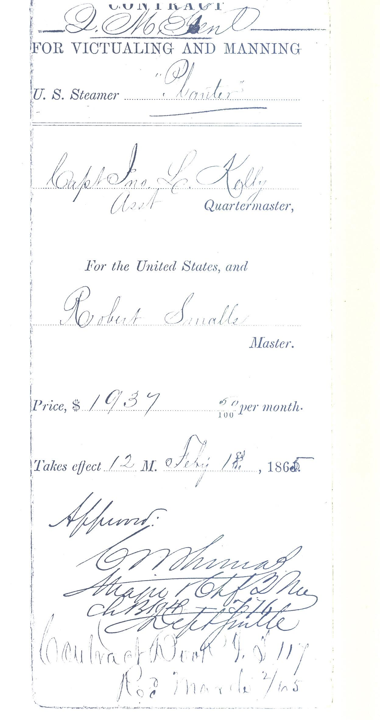 Robert Smalls' contract with the Union as Master of the Planter.