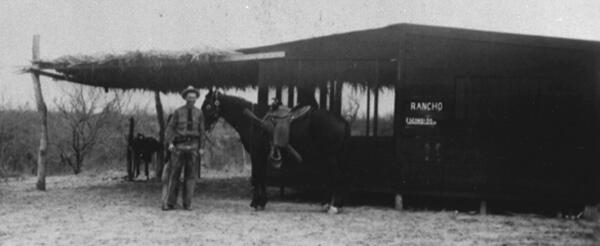 Patrol Inspector Albert Blakeway at U.S. Border Patrol horse patrol camp located near Indio, Texas - 1942.