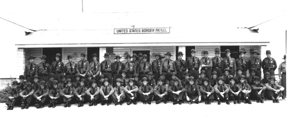 Group photograph of Del Rio Sector officers taken in front of Del Rio Sector Headquarters - 1950.