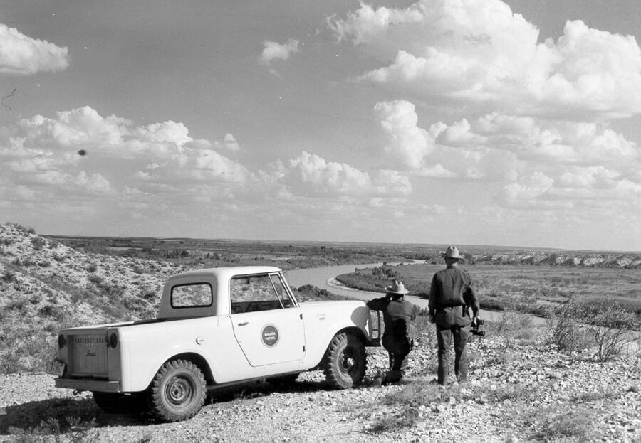 Linewatch duty along the Rio Grande River near Del Rio, Texas, in mid-1960s.