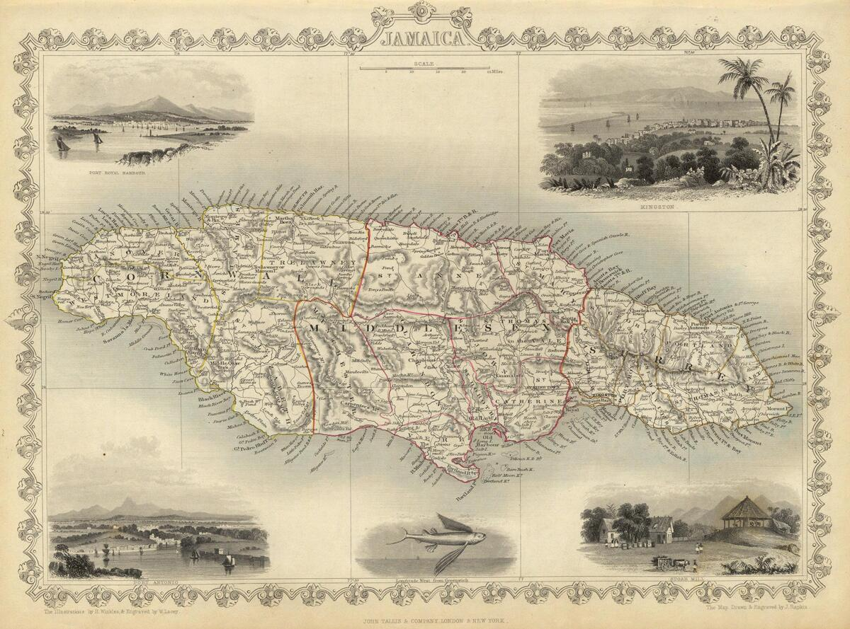 Map of Jamaica with an engraving of a sugar mill, dated 1851.