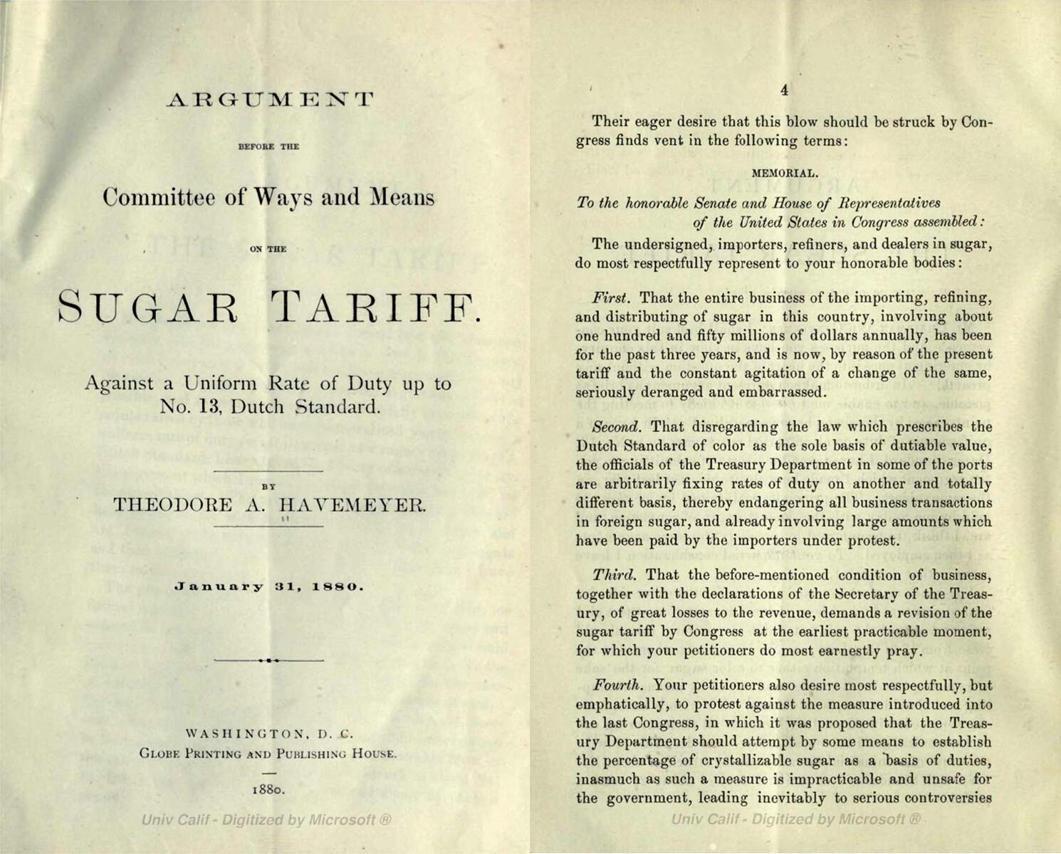Title page and excerpt from a pamphlet arguing against the sugar tariff, 1880.