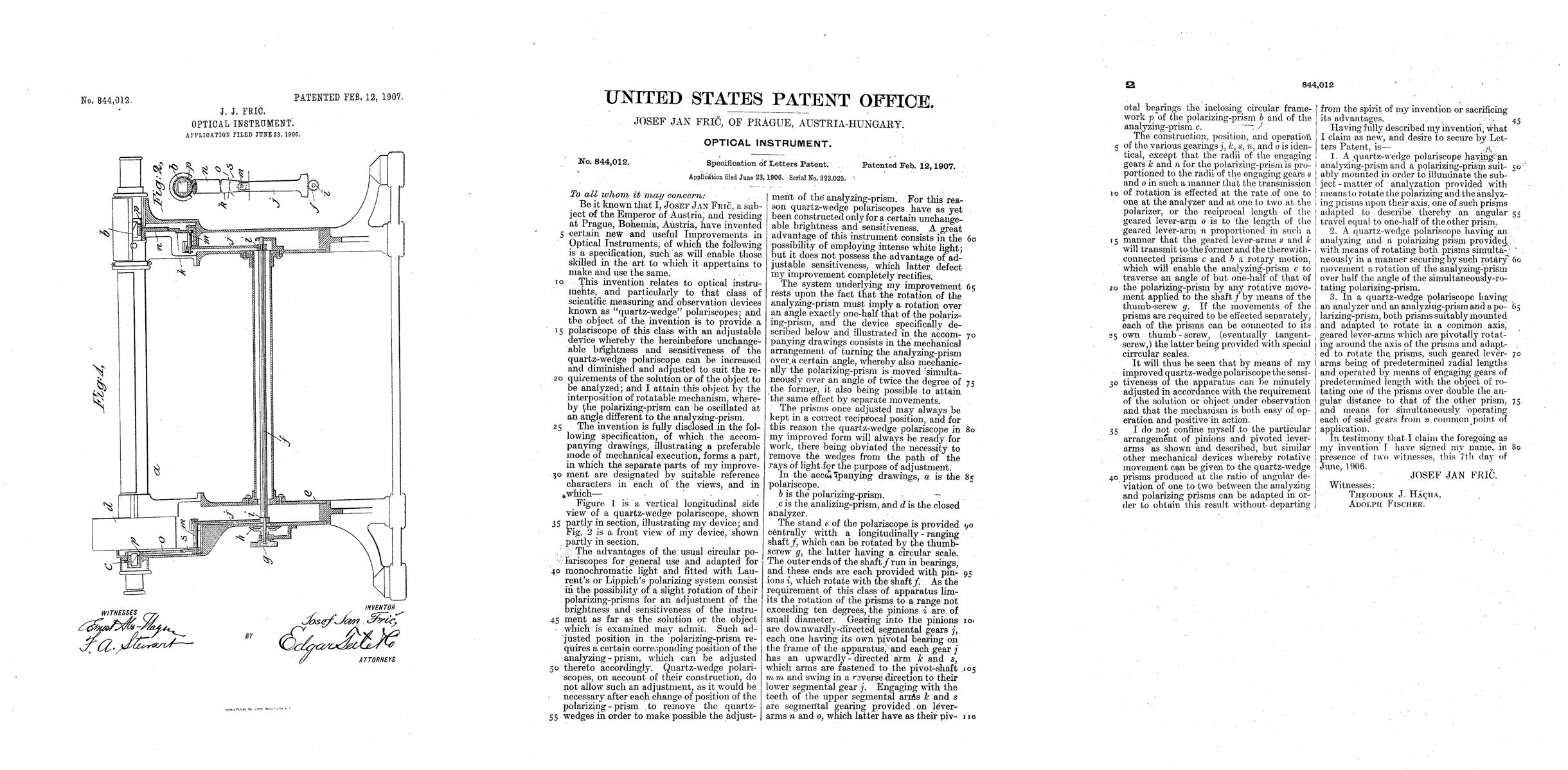 Patent for a type of half shade polariscope used by the U.S. Customs Service. Light passes-through a tube containing sugar solution-into the eye piece, which was rotated to reveal a fully circular clear image. The degree of rotation of the eyepiece corresponds to the level of sucrose, which in turn marks the quality of the sugar product.