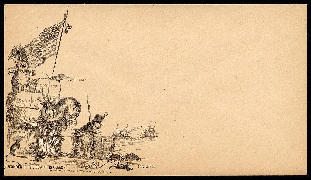 "When he heard of plans to run the blockade with a shipment of bacon intended for the rebellion, U.S. Consul George Abbot wrote from England to In this cartoon illustration, Union military cats, atop bales of cotton, kill ""Southern rats"" at the blockaded port. (Civil War Treasures from the New-York Historical Society [nhnycw/aj aj08022])"