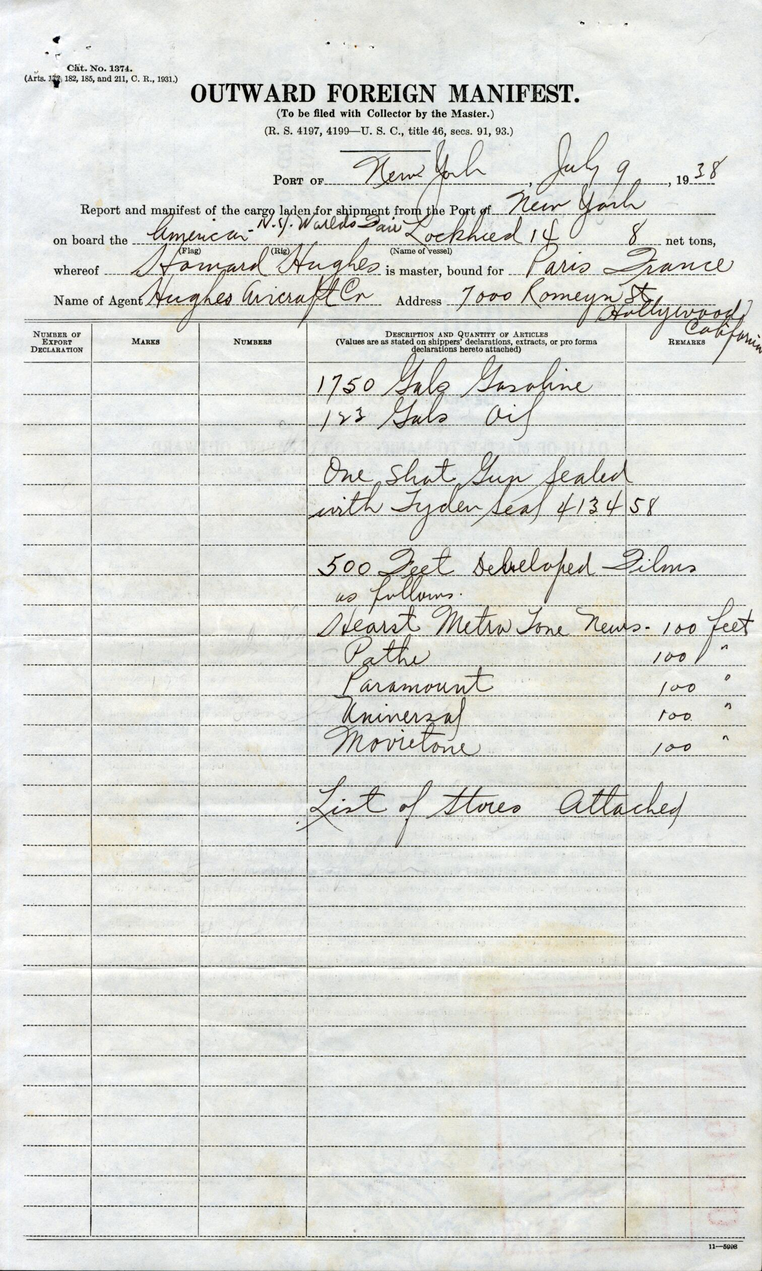 "The ""List of Stores"" is not attached to the Hughes manifest, but we can speculate on what he carried based on his advance requests for the landing sites. Detailed in his flight operations manual, at Paris, Hughes asked for ""15 gallons of Poland water in one or one half gallon bottles with unbroken seals, 12 quarts of pasteurized milk in one quart sealed bottles, 3 lbs. of fried chicken, 15 lbs. of dry ice, 5 gallons of hot coffee, ready to be poured in ship's thermos bottles, 5 hot dinners, individually packed, consisting of lamb chops, baked potatoes, and fresh string beans, and a container of coffee"" along with oil, gasoline, and spare parts."