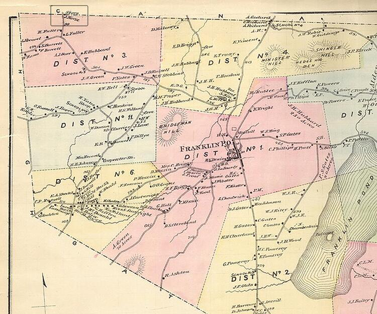 "Cropped view of Franklin County, Vt. map in 1871, showing location of ""store J. Morse"" on the Vermont/Quebec international border and the relationship of the line store to the town of Franklin. Credit: F.W. Beers & Co. Atlas of Franklin and Grand Isle Counties, Vermont, 1871. New York, N.Y."
