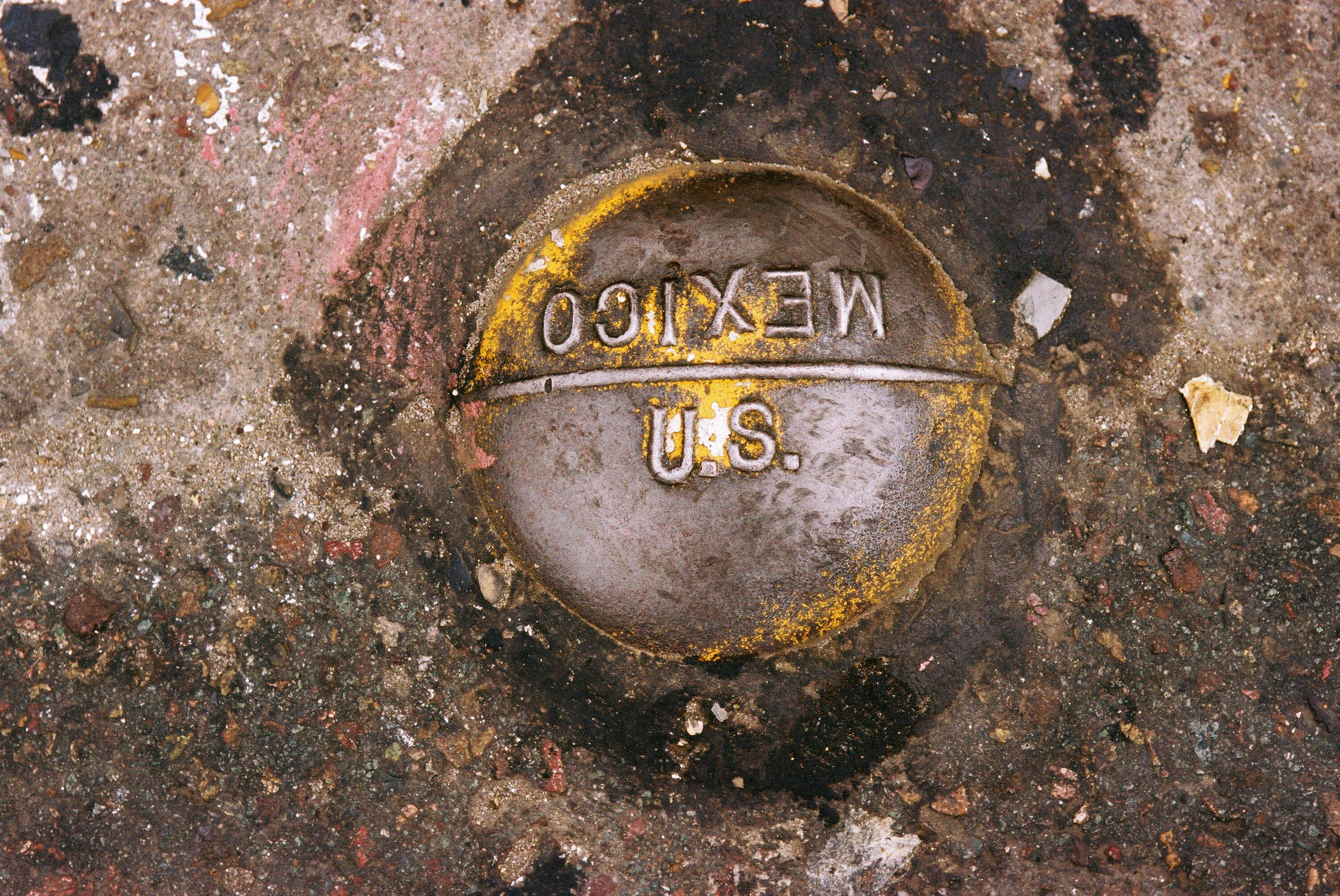 A medallion marks the spot where the U.S. and Mexican border meet.