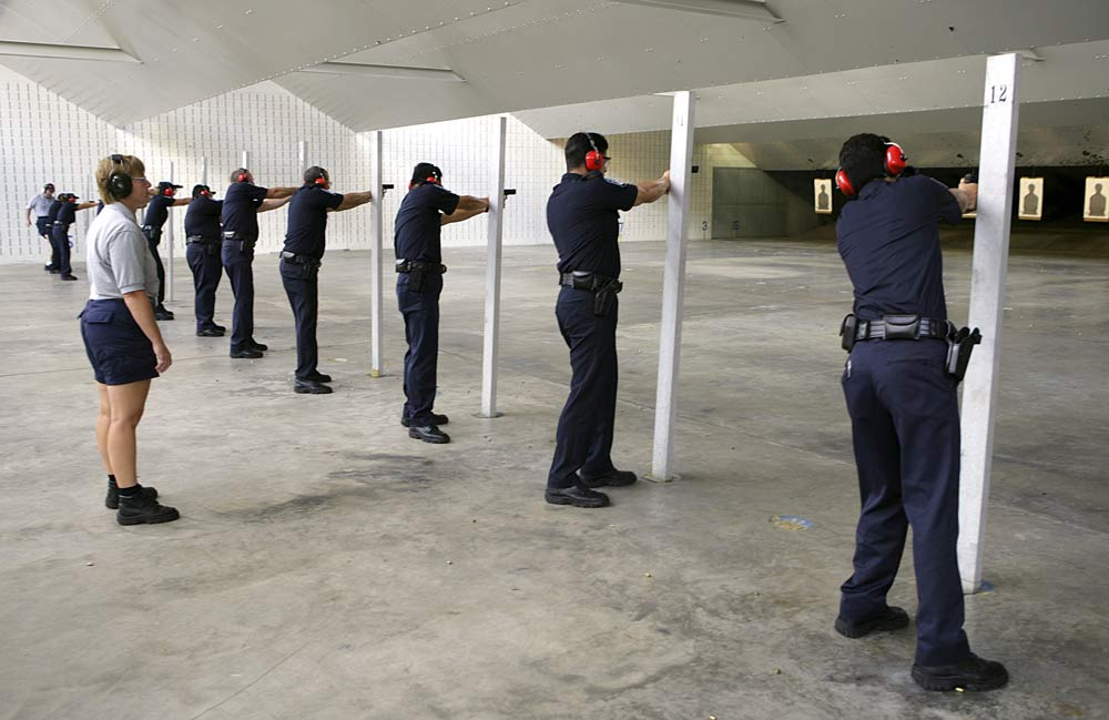 CBP officers qualifying at the FLETC firing range.