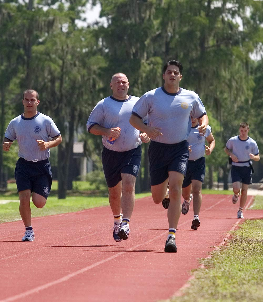 Officer trainees participating in their final physical training test.