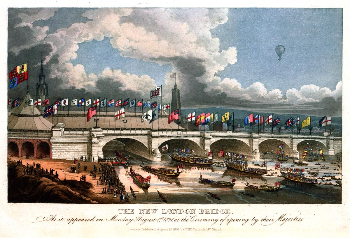 London Bridge across the Thames River in England on its first opening day, August 1, 1831. Library of Congress Prints and Photographs Division.
