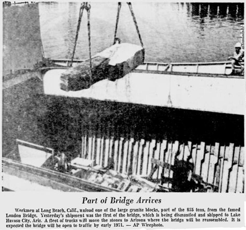Shipments of bridge blocks from London to the port at Long Beach were made via Scandinavian freighters, including the Fossum out of Norway and container ships of Sweden's Johnson Line. Image from The Reading Eagle, July 5, 1968.