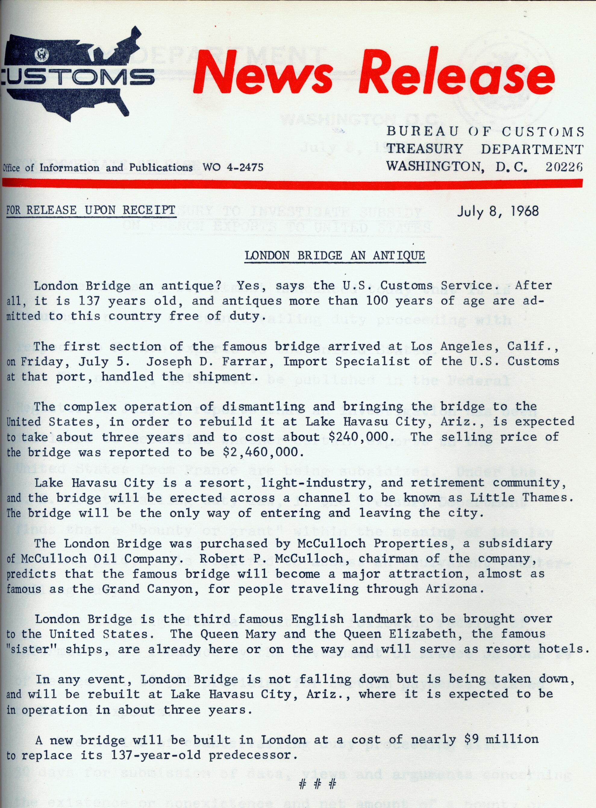 U.S. Customs Service news release from July 8, 1968 discussing that London Bridge was declared an antique. CBP Historical Collections.