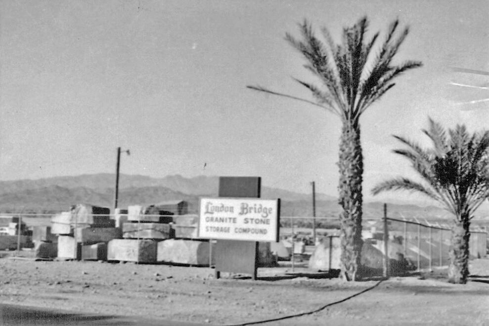 In Arizona, the granite was stored in a fenced-off area until needed during reconstruction. Courtesy of Lake Havasu Museum of History.