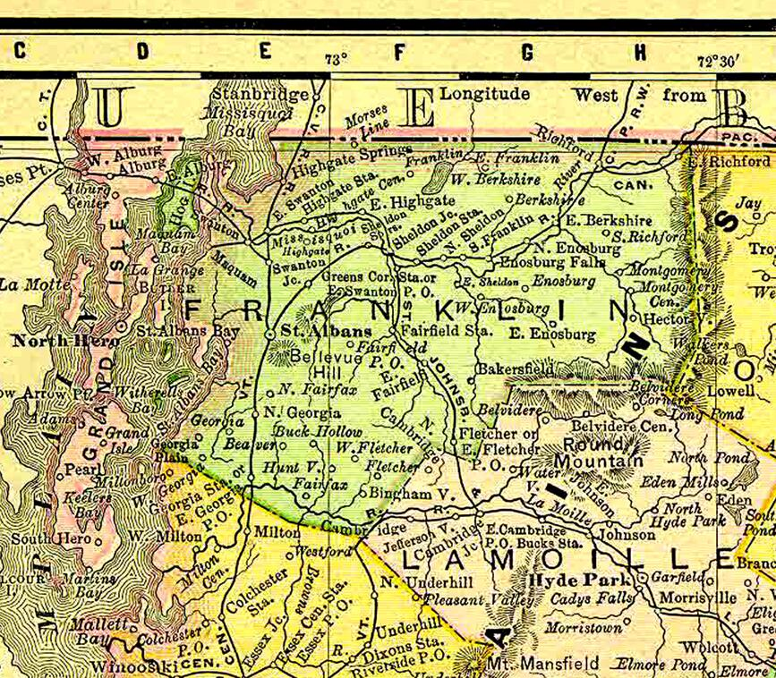 """Cropped view of map of Vermont in 1895, showing the location of """"Morses Line"""" on the Vermont/Quebec international border, and the relationship of the hamlet to the town of Franklin. Rand McNally & Co. Atlas of the World (Vermont), 1895"""