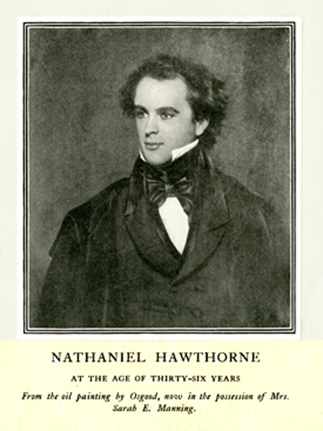 Nathaniel Hawthorne (1804-1864)1904 engraving from an oil portrait by Osgood shows Hawthorne at age 36, during the period he was employed as a customs measurer of coal and salt in the Boston Custom House from 1839 to 1841.