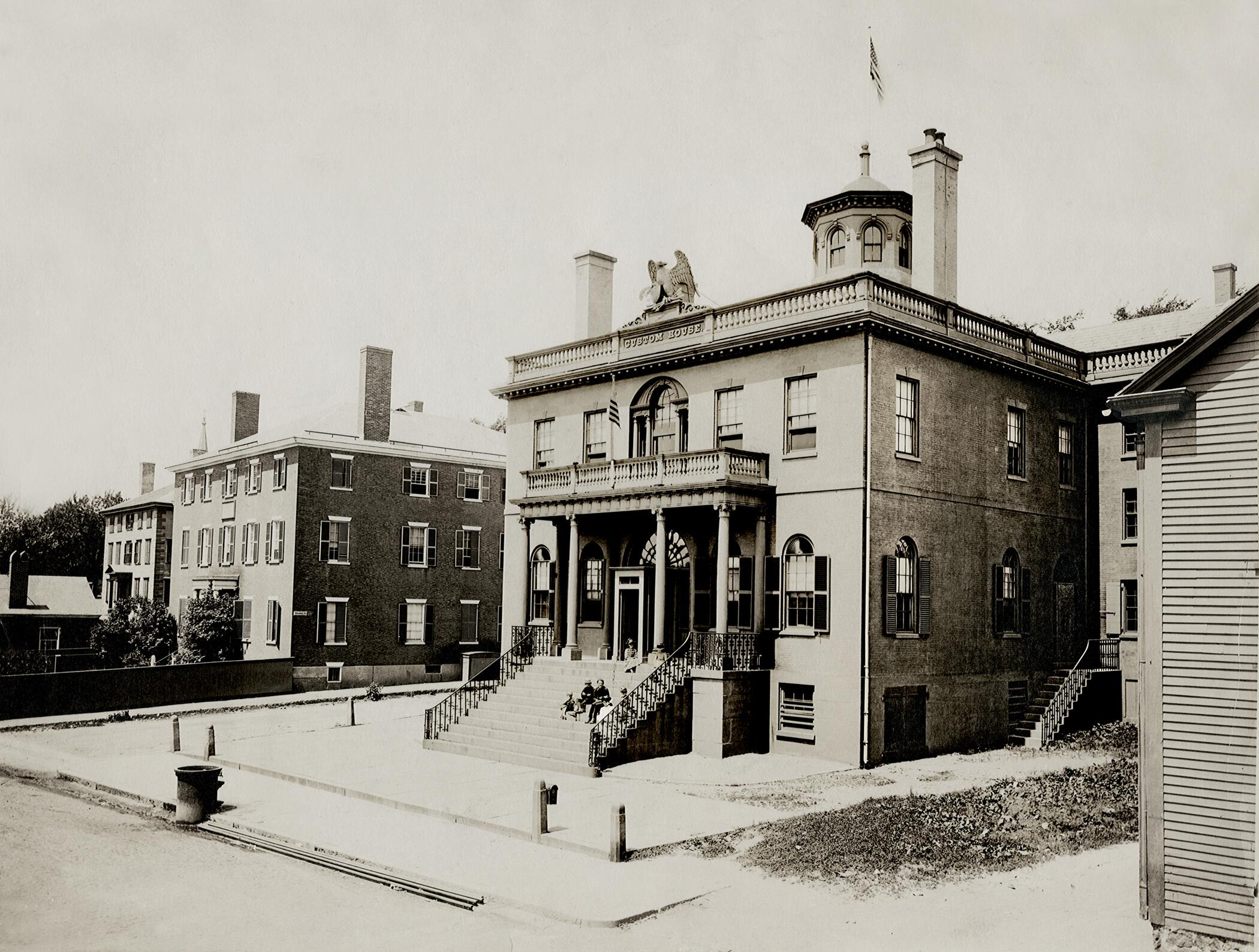 The Custom House at Salem, Mass.Nathaniel Hawthorne served as customs surveyor for the Port of Salem in this customhouse from 1846-1849. The Surveyor's office was located on the first floor, to the left of the main entrance, with large windows overlooking Derby Wharf, where Hawthorne would gaze in anticipation of a ship's arrival.